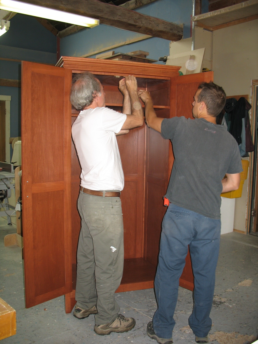 Rattan and maple wardrobe