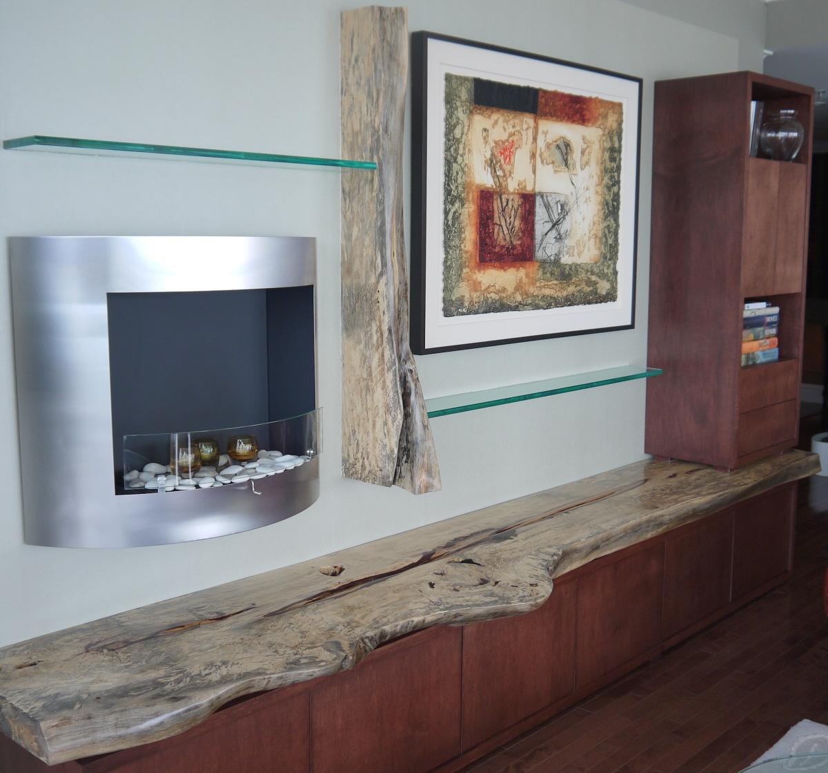Bibliotheque etagere bois exotique organique Tamarin