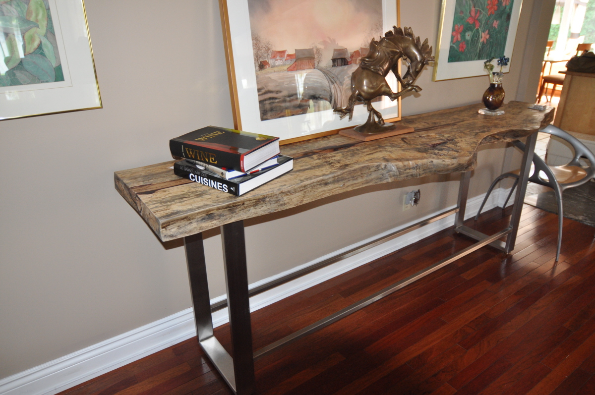 Exotic, live edge tamarin wood and metal side table