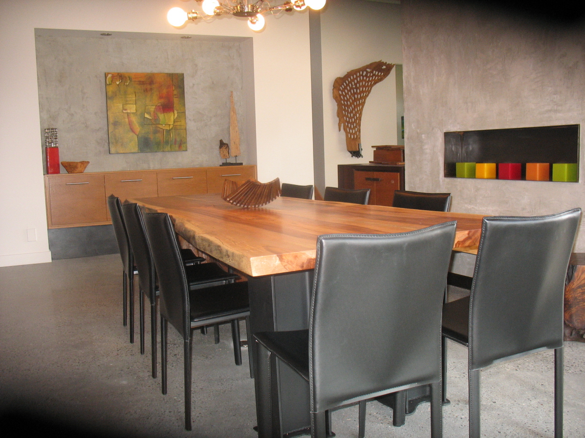 Exotic live edge suar wood an metal dining table