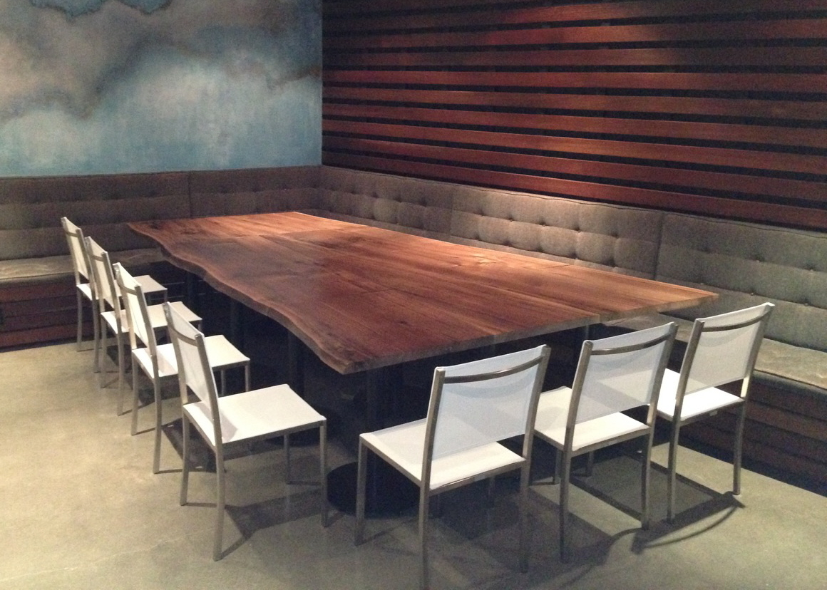 Live edge black walnut conference table