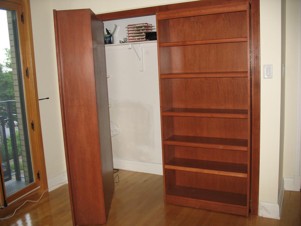 Maple bookshel on wheels to hide a wardrobe