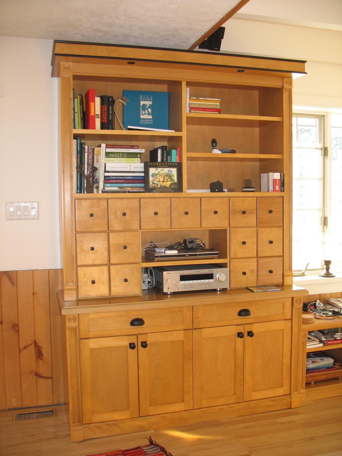 Bibliothèque meuble système de son merisier